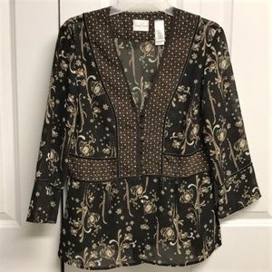 Emma James Floral Blouse Size 12 Thick Sheer
